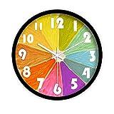 Binn Reloj de Cocina Reloj de Cuarzo silencioso de Color Naranja Creativo, Reloj de Paredes de Vidrio HD de Dormitorio de Siete Colores Decoracion Hogar (tamaño : 16inch-Black)