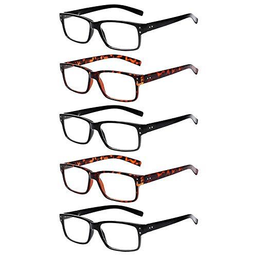 Kerecsen 5 Pack Lesebrille Herren Damen Rechteck Federscharniere Leser Männe Frauen Fashion Brille (3 Schwarz 2 Leopard, 3.5)