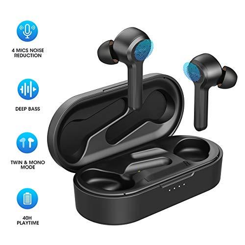Bluetooth Kopfhörer, 4-Mic CVC 8.0 Noise Cancelling Mpow M9 Bluetooth Kopfhörer in Ear mit Bass Stereo/IPX8 Waterproof/40Std Sports Kopfhörer Touch Sensoren/USB-C-Ladebox/Dual Modes for Sport, Work