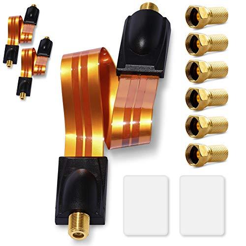 UC-Express 6X F-Stecker 3X SAT Fensterdurchführung extrem flach 0,3mm Antennenkabel F Kupplung ohne Bohren Flachkabel 26cm 2X F-Buchse Kabel Antennenkabel