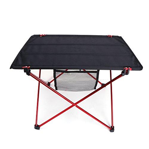 JOYKK Outdoor Vouwen Ultra-licht Aluminium Draagbare Camping Picknick Tafel - Zwart+Rood