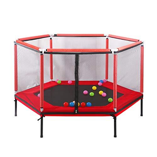 Trampolino Elastico da Giardino casa per Bambini Trampolino Junior da 62 Pollici Rosso per Bambini con recinto di Sicurezza e Trampolino da Salto per attività all'aperto