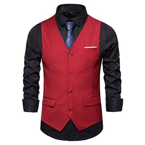 Vest Men Vest Men Casual Fashion Buttons Men Tops Autumn New Business Casual Fashion Design Slim Temperament Men Vest Trendy Men's Clothing E-Red L