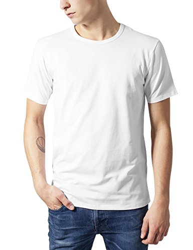 Urban Classics TB814 Herren T-Shirt Fitted Stretch Tee, Weiß (white 220), Gr. Large, L