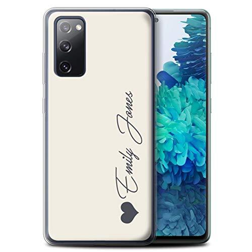 Personalisiert Persönlich Pastell Töne Gel/TPU Hülle für Samsung Galaxy S20 FE/Elfenbein Herz Design/Initiale/Name/Text Schutzhülle/Hülle/Etui