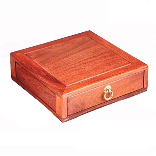 Teebeutel Caddy Box Organizer Retro Holz Tee Aufbewahrungsbox Brust Teebeutel Halter Rack Aufbewahrungsbehälter Tee Lager (Color : Brown, Size : 23.4x23.4x7cm)