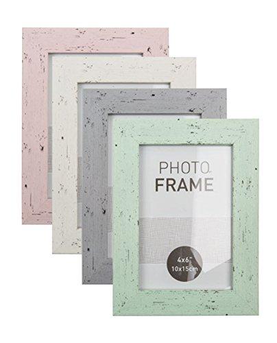 EuroDiscount Bilderrahmen Fotorahmen Kunststoff Rahmen in Holz Vintage Optik für Bildformat 10 x 15 cm 1 Stück, Farbe:Weiß