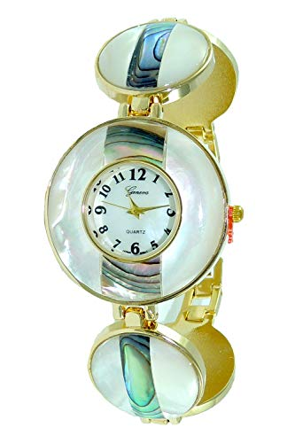 Geneva Authentic Mother of Pearl Dial & Abalone Shell Gold Bracelet...