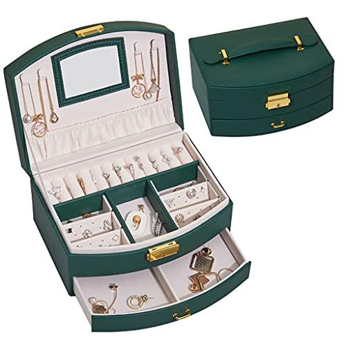 EPOU Joyero Caja de joyería Creativa con Bloqueo y Espejo, Caja de joyería de Masa multifunción para Mujeres Girls Lujoso Regalo contenedor Organizador jewlwey (Color : Green)