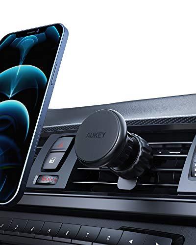 AUKEY 2021 Actualizado Soporte Móvil Coche Abrazadera más Estable Iman Coche Movil Fuerte Atracción Magnética para iPhone 12/11 / XS MAX, Google Pixel 3 XL, Samsung, GPS y Otros Smartphone