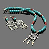 Handmade Native American Inspired Feather Charm Dream Catcher Beaded Necklace and Earrings Set Red Coral and Blue Howlite