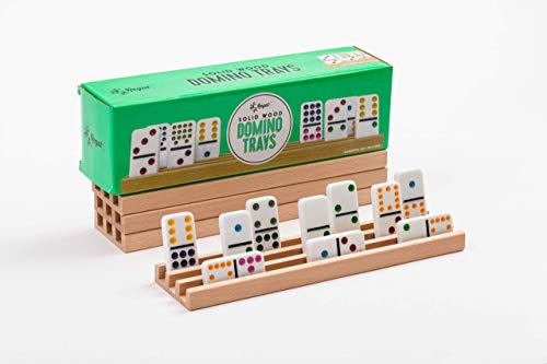 Regal Games Solid Natural Wood Domino Trays Set of 4