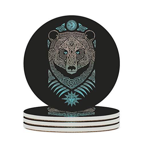 Perstonnoli Posavasos redondos de cerámica con parte trasera de corcho, juego de 4 posavasos decorativos para vasos, jarrones, velas, 10 cm, color blanco, 6 unidades