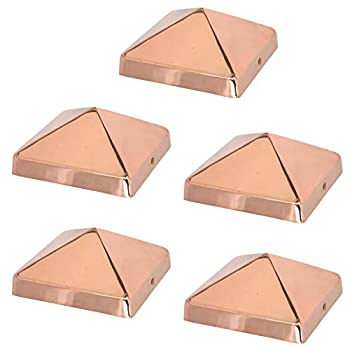 6x6 Copper Pyramid Post Caps  5-Pack  - Extended Lip - Solid Copper - Will Patina Naturally  5-1/2  x 5-1/2    5 6x6