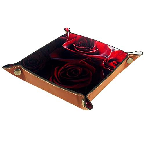 Bandeja de PU Cuero, Almacenamiento Organizador para Joyas, Caja Relojes, Cartera, Moneda,Llaves, Monedas, Teléfonos Close up Red Rose Bouquet