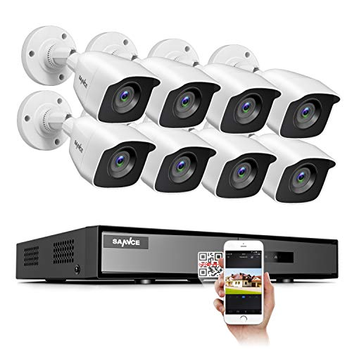 SANNCE 8CH Full 1080P Lite Security Camera System CCTV DVR and (8) 1080P Night Vision Surveillance Cameras, IP66 Weatherproof, QR Code Scan and Remote Access,No Hard Drive Included