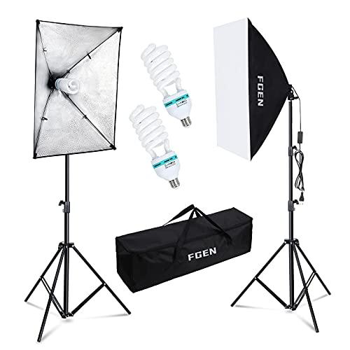 Softbox Fotostudio Set,FGen Fotolicht 2x50x70cm Beleuchtung für Fotostudios mit E27 Sockel 135W 5500K Fotolampe und 2M verstellbare Lichtstative für Studio-Porträts, Produktfotografie, Modefotos