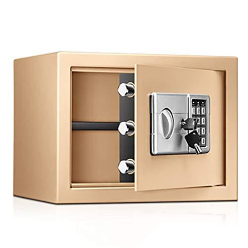 Caja Fuerte Empotrable Mini caja fuerte para dinero, pequeñas cajas fuertes portátiles resistentes al fuego e impermeables con teclado digital, para College Dorm Home Hotel (Color : Gold)