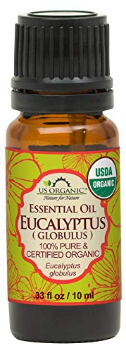 US Organic 100% Pure Eucalyptus Essential Oil (Globulus) - USDA Certified Organic, Steam Distilled - W/Euro droppers (More Size Variations Available) (10 ml / .33 fl oz)