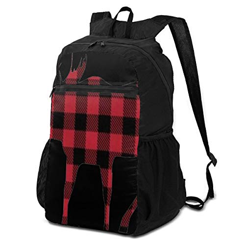 best& Travel Hike Backpack Daypack Elegant Perfectly Plaid Moose Red Black Travel Daypack Packable Backpack for Women Lightweight Waterproof for Men & Womentravel Camping Outdoor