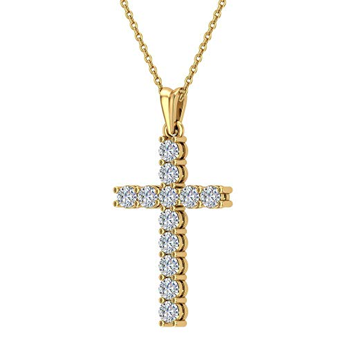 Glitz Design Collar de Cruz de Diamante para Mujer Oro Amarillo 18K 0.60 ctw 27 mm Regalos de Pascua (G, SI)