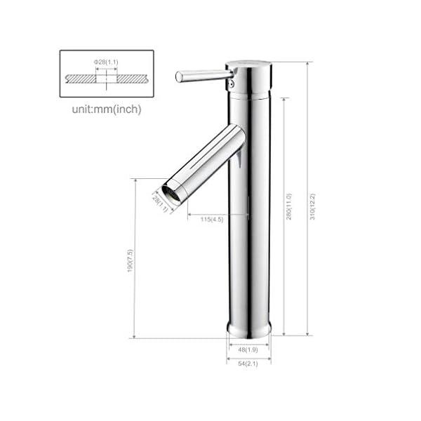 Kinse Grifo de Lavabo Caño Alto – Grifo para Lavabos Sobre-Encimera con Aireador Baño Monomando Mezclador Agua Fría y…
