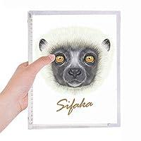 白いふわふわのシファカ猿動物 硬質プラスチックルーズリーフノートノート