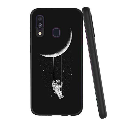 Yoedge Coque Samsung Galaxy A40, Etui en Silicone avec Noir Motif Design Antichoc Housse de Protection Flim TPU Gel 360 Case Cover Coque pour Telephone Samsung Galaxy A40 5,9 Pouces, Astronaute