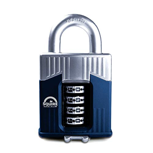 SQUIRE Warrior Combination Lock. Heavy Duty, High Specification Armoured Body Boron Steel Shackle Recodable Padlock. Up to 100,000 Combinations. (4 Wheel - 55mm)