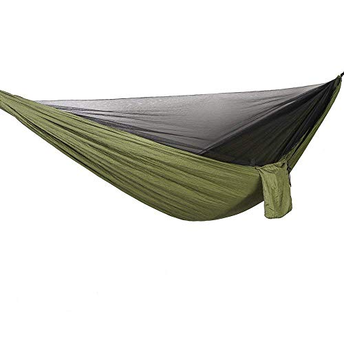 Bwiv Outdoor Hammock With Mosquito Net Ultralight and Portable Supports Up To 440LBS Double Parachute Camping Hammocks With Tree Straps For Hiking Backpacking Travel Beach Yard 114''x 55'' Army Green