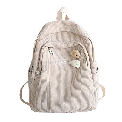 Damen Rucksack / Schultasche aus Kord, gestreift, für Teenager, Mädchen, Jungen, luxuriös, Harajuku, khaki (Grün) - yuery-LP18WI