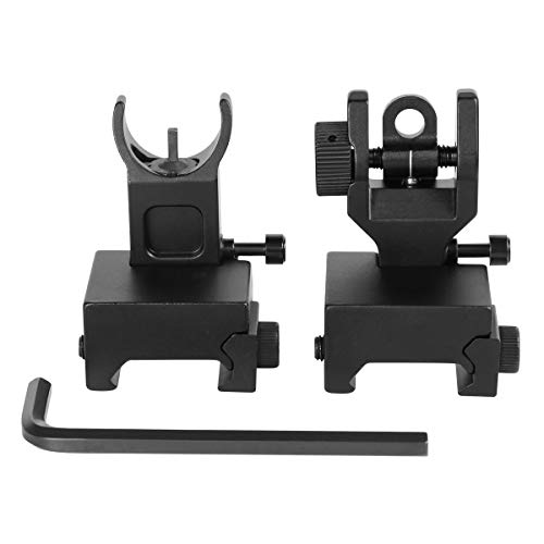 Gogoku Flip Up Iron Sight Front Rear Sight Compatible for Picatinny Rail and Weaver Rail Foldable Sights