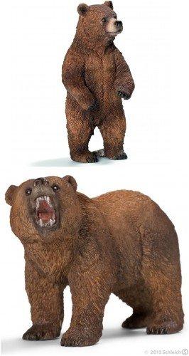 Schleich グリズリー男性と女性熊 2個セット バッグ入り よく研究され、リアルで耐久性があり、すぐにプレゼントできます。