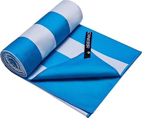 Cressi Microfibre Fast Drying Toalla Sport, Unisex Adulto, Blanco/Aguamarine, 90x180 cm
