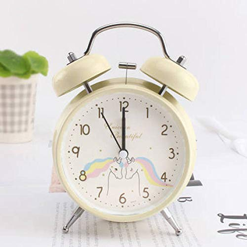 FPRW Schattige Unicorn Double Bell wekker, nachtlampje stille nachtkastje, 16X11,5 cm beige