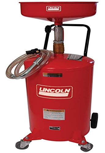 Lincoln 3601 Pressurized Air Operated 18 Gallon Portable Industrial Fluid Drain Tank, Adjustable Funnel Height, Fluid Level Indicator and 14 Inch Bowl
