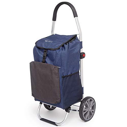 VeoHome – Einkaufsroller 40L mit Kühlfach - Einkaufstrolley große Räder Klappbar Treppensteiger aus Aluminium - Ergonomisch, Stabil und Kompakt faltbar – Blau und Schwarz