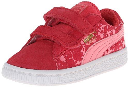 PUMA Suede Speckle V Kids Sneaker (Infant/Toddler/Little Kid) , Geranium/Salmon Rose, 8 M US Toddler