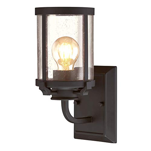 Westinghouse Lighting 6368000 Colville One-Light Indoor Wall Sconce Light Fixture, Oil Rubbed Bronze Finish with Clear Seeded Glass