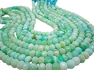 Jewel Beads Natural Beautiful jewellery Peruvian Opal Beads, Peruvian Opal Beads, Green Opal Beads, Faceted Rondelles, 8mm, Aqua Gemstone 7 inch strandCode:- JBB-43542