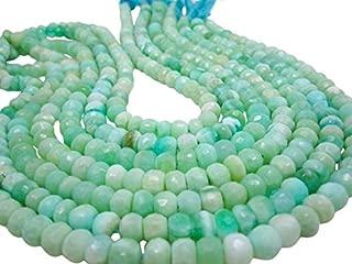 Jewel Beads Natural Beautiful jewellery Peruvian Opal Beads, Peruvian Opal Beads, Green Opal Beads, Faceted Rondelles, 8mm, Aqua Gemstone 7 inch strandCode:- JBB-43542