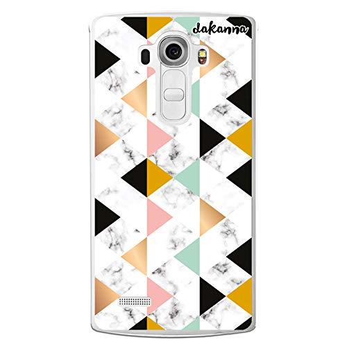 dakanna Funda para [LG G4] de Silicona Flexible, Dibujo Diseño [Estampado de mármol Blanco y Negro con Figuras géometricas], Color [Borde Transparente] Carcasa Case Cover de Gel TPU, Smartphone