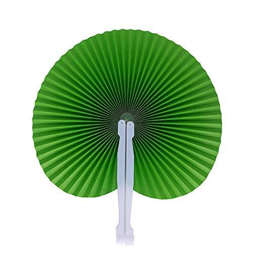 Icelus 24 ventagli di carta verde a mano, ventaglio per matrimonio, matrimonio, tasche pieghevoli, per bomboniere estive, feste, matrimoni all'aperto, fai da te, decorazione da parete