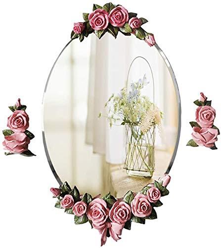 Espejo de Pared Oval Modern Floral Moun-Moun Ted TAV Flasheless WTIH Candlestica Floral para el baño Washoom Sala de la Sala Pasillo USA para Decorar la habitación (Color : Pink, Size : 45CMx76CM)