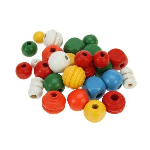 Creation Station Lot de 650 Perles en Bois Assortiment de Formes et de Couleurs 6-15 mm 200 g