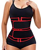 Manladi Zipper Waist Trainer for Women Weight Loss Everyday Girdle Belly Band(Red-2 Belt-Detachable, Medium)