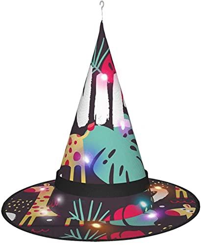 KINGAM Sombrero de bruja de jirafa y plantas silvestres con luz, para disfraz de Halloween, disfraz de disfraz, accesorio y uso diario