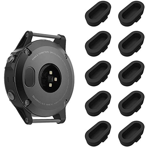 HJYuan 10 Pack Dust Plug Compatible with Garmin Fenix 5/5S/5X/6/6S/6X/6 Pro/6S Pro/6X Pro/Forerunner 935/Vivoactive 3/4/4S Smartwatch Silicone Charger Port Protector Anti Dust Plugs Caps, Black