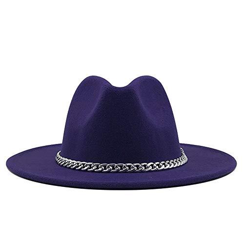 ZHANGBIN Chapeau Fedora d'hiver 2020 pour femme et homme avec chaîne en métal, chapeau en feutre de coton, chapeau Panama tendance décontracté rétro (couleur : violet, taille : 59-61 cm)