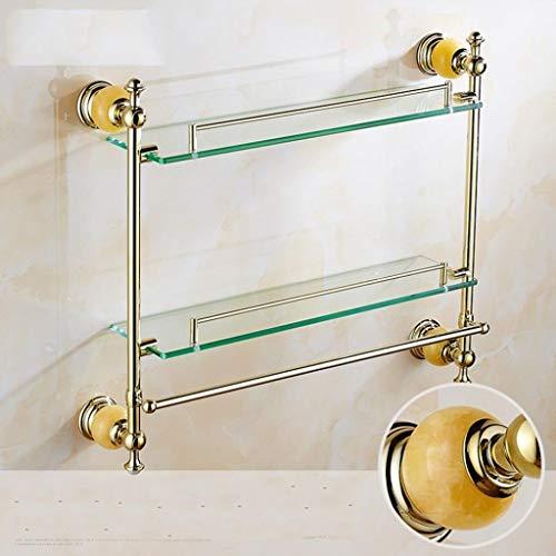 DNSJB glazen planken antieke dubbele planken dressoir tafel met badkamer houder gouden jade marmer glas plank handdoek rek hanger